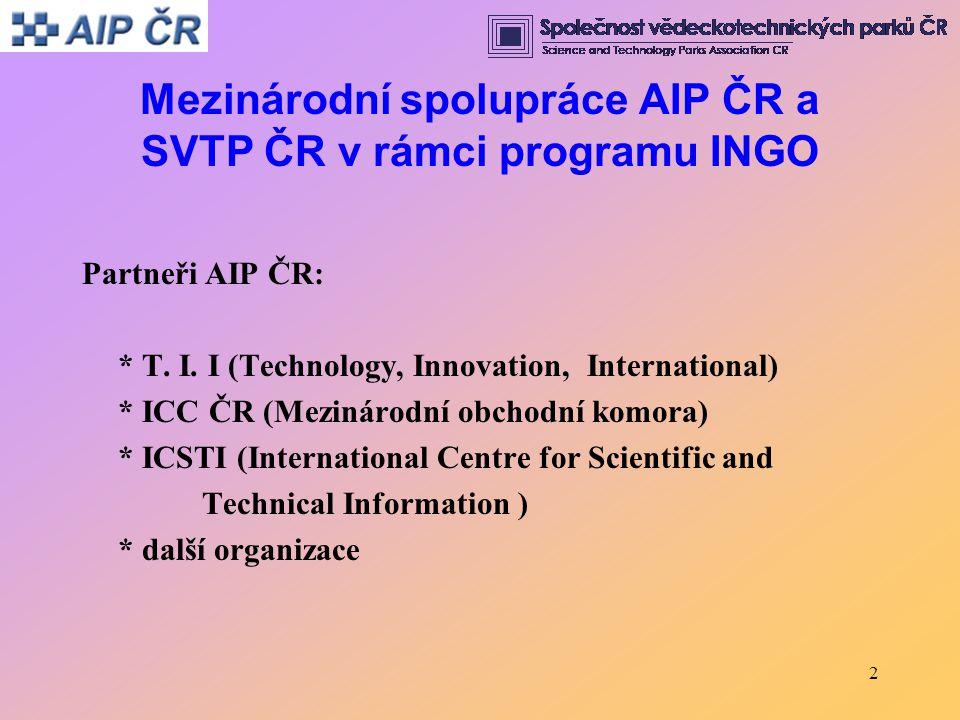 2 Mezinárodní spolupráce AIP ČR a SVTP ČR v rámci programu INGO Partneři AIP ČR: * T.