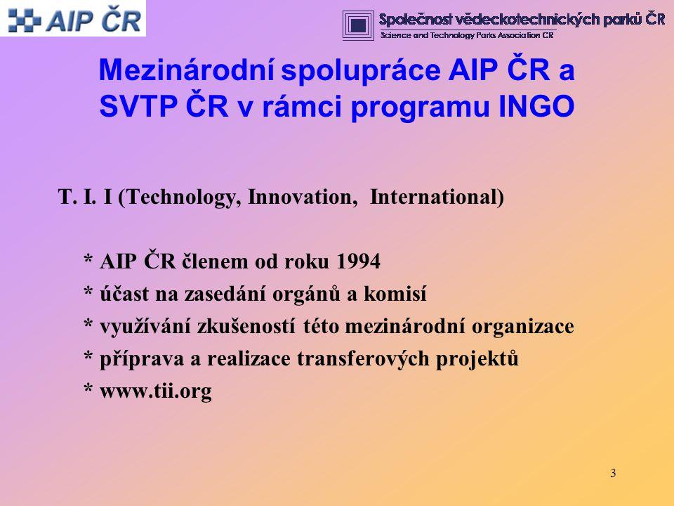 Mezinárodní spolupráce AIP ČR a SVTP ČR v rámci programu INGO T. I. I (Technology, Innovation, International) * AIP ČR členem od roku 1994 * účast na