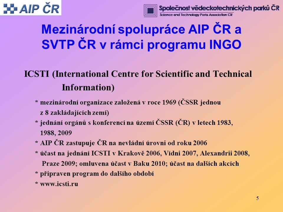 5 Mezinárodní spolupráce AIP ČR a SVTP ČR v rámci programu INGO ICSTI (International Centre for Scientific and Technical Information) * mezinárodní or