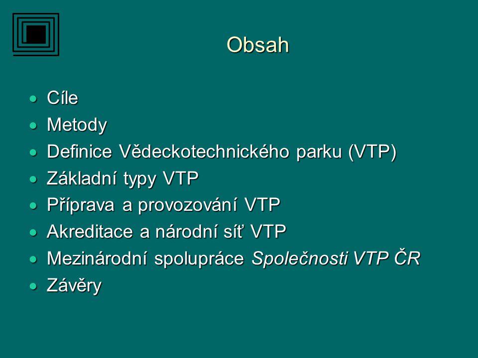 Obsah  Cíle  Metody  Definice Vědeckotechnického parku (VTP)  Základní typy VTP  Příprava a provozování VTP  Akreditace a národní síť VTP  Mezinárodní spolupráce Společnosti VTP ČR  Závěry