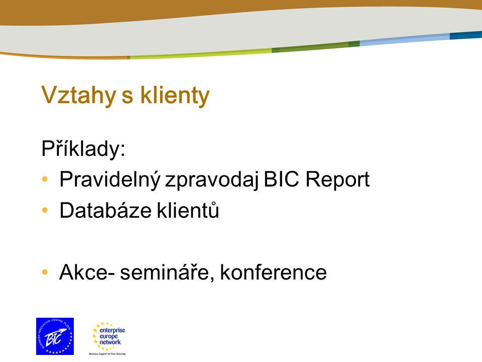 Vztahy s klienty Př í klady: Pravidelný zpravodaj BIC Report Datab á ze klientů Akce- semin á ře, konference