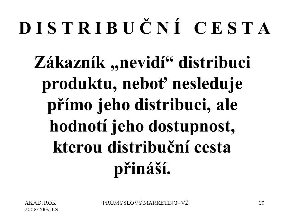 """AKAD. ROK 2008/2009, LS PRŮMYSLOVÝ MARKETING - VŽ10 D I S T R I B U Č N Í C E S T A Zákazník """"nevidí"""" distribuci produktu, neboť nesleduje přímo jeho"""