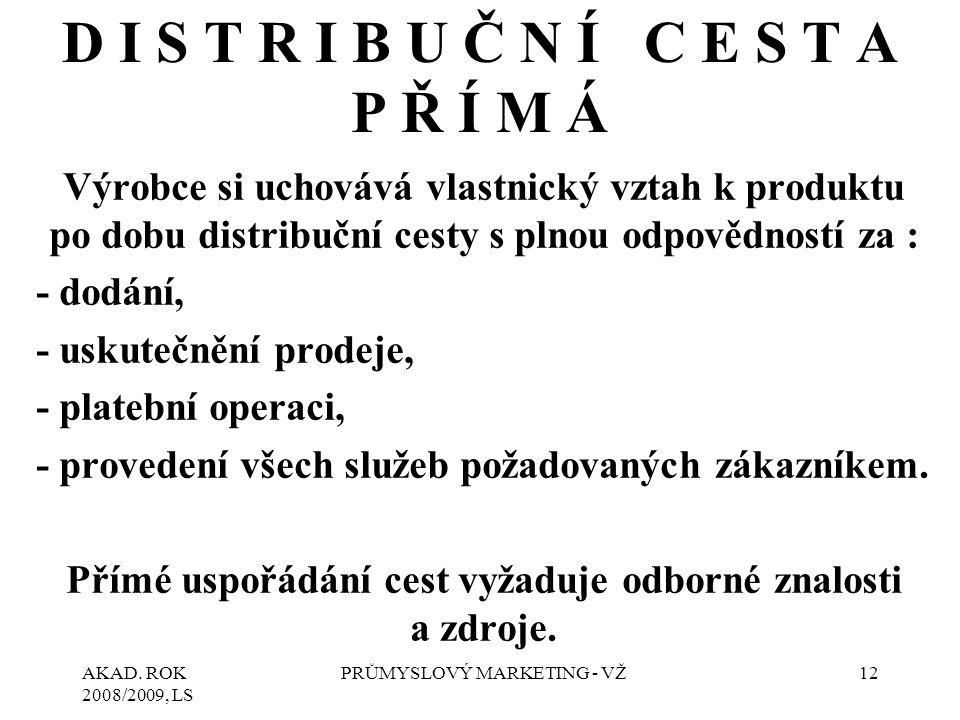 AKAD. ROK 2008/2009, LS PRŮMYSLOVÝ MARKETING - VŽ12 Výrobce si uchovává vlastnický vztah k produktu po dobu distribuční cesty s plnou odpovědností za