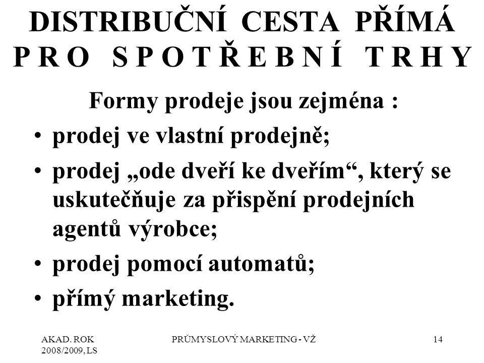 """AKAD. ROK 2008/2009, LS PRŮMYSLOVÝ MARKETING - VŽ14 Formy prodeje jsou zejména : prodej ve vlastní prodejně; prodej """"ode dveří ke dveřím"""", který se us"""