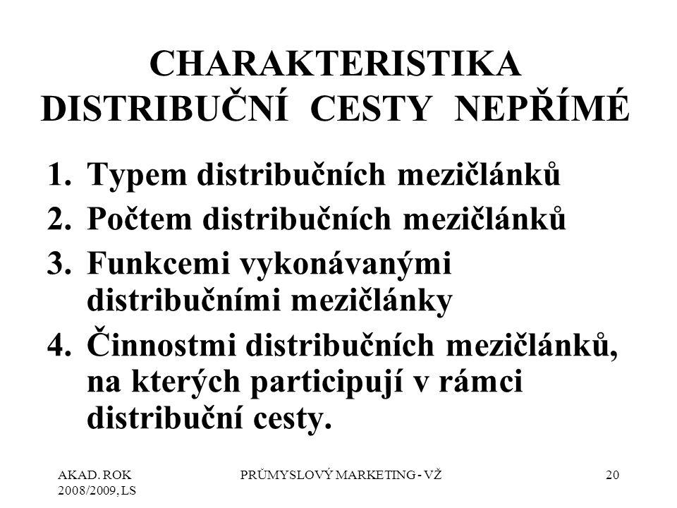 AKAD. ROK 2008/2009, LS PRŮMYSLOVÝ MARKETING - VŽ20 CHARAKTERISTIKA DISTRIBUČNÍ CESTY NEPŘÍMÉ 1.Typem distribučních mezičlánků 2.Počtem distribučních