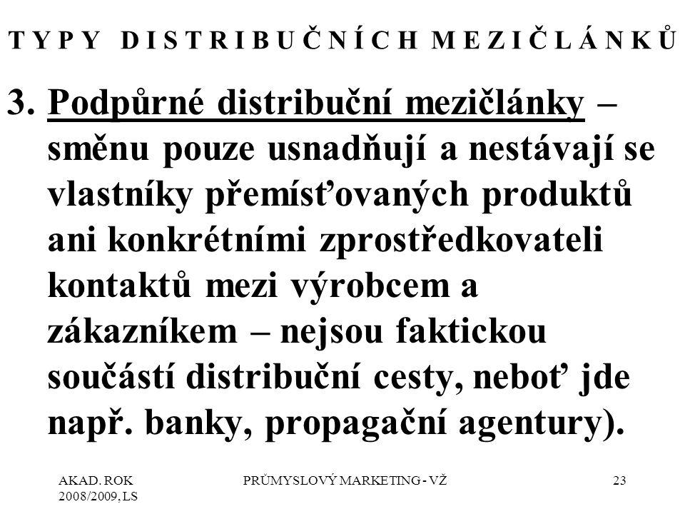 AKAD. ROK 2008/2009, LS PRŮMYSLOVÝ MARKETING - VŽ23 T Y P Y D I S T R I B U Č N Í C H M E Z I Č L Á N K Ů 3.Podpůrné distribuční mezičlánky – směnu po