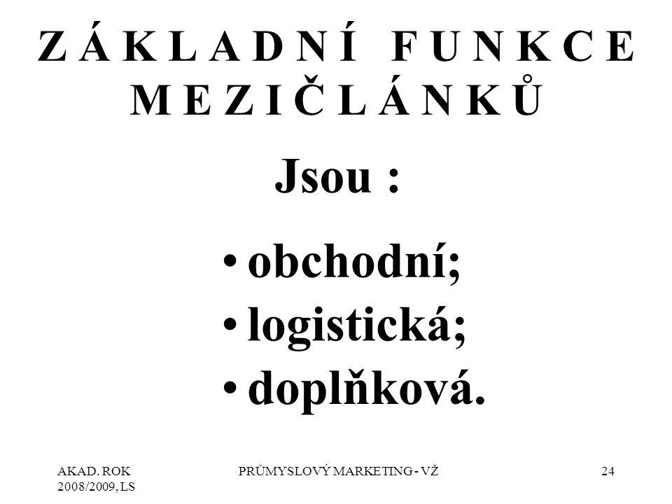 AKAD. ROK 2008/2009, LS PRŮMYSLOVÝ MARKETING - VŽ24 Z Á K L A D N Í F U N K C E M E Z I Č L Á N K Ů Jsou : obchodní; logistická; doplňková.