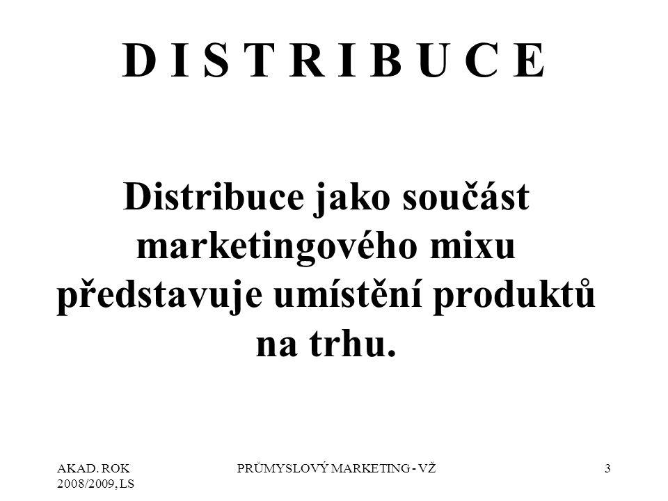 AKAD. ROK 2008/2009, LS PRŮMYSLOVÝ MARKETING - VŽ3 D I S T R I B U C E Distribuce jako součást marketingového mixu představuje umístění produktů na tr