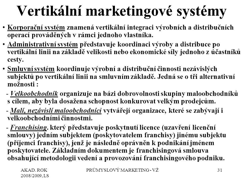 AKAD. ROK 2008/2009, LS PRŮMYSLOVÝ MARKETING - VŽ31 Vertikální marketingové systémy Korporační systém znamená vertikální integraci výrobních a distrib