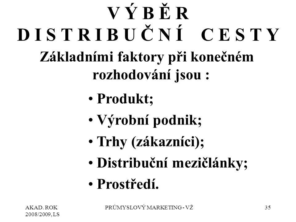 AKAD. ROK 2008/2009, LS PRŮMYSLOVÝ MARKETING - VŽ35 V Ý B Ě R D I S T R I B U Č N Í C E S T Y Základními faktory při konečném rozhodování jsou : Produ