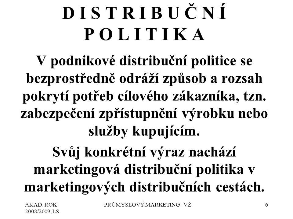 AKAD. ROK 2008/2009, LS PRŮMYSLOVÝ MARKETING - VŽ6 D I S T R I B U Č N Í P O L I T I K A V podnikové distribuční politice se bezprostředně odráží způs