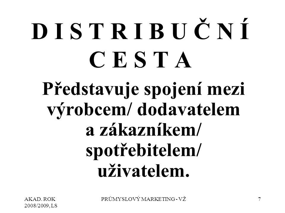 AKAD. ROK 2008/2009, LS PRŮMYSLOVÝ MARKETING - VŽ7 D I S T R I B U Č N Í C E S T A Představuje spojení mezi výrobcem/ dodavatelem a zákazníkem/ spotře