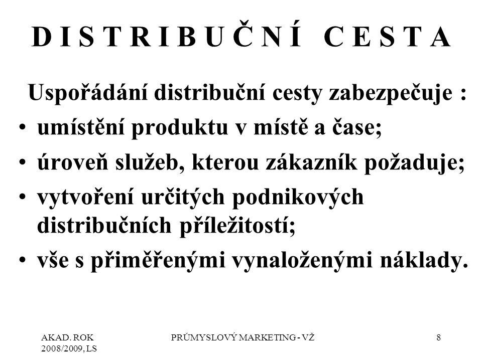 AKAD. ROK 2008/2009, LS PRŮMYSLOVÝ MARKETING - VŽ8 D I S T R I B U Č N Í C E S T A Uspořádání distribuční cesty zabezpečuje : umístění produktu v míst