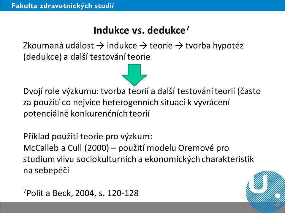 Indukce vs. dedukce 7 Zkoumaná událost → indukce → teorie → tvorba hypotéz (dedukce) a další testování teorie Dvojí role výzkumu: tvorba teorií a dalš