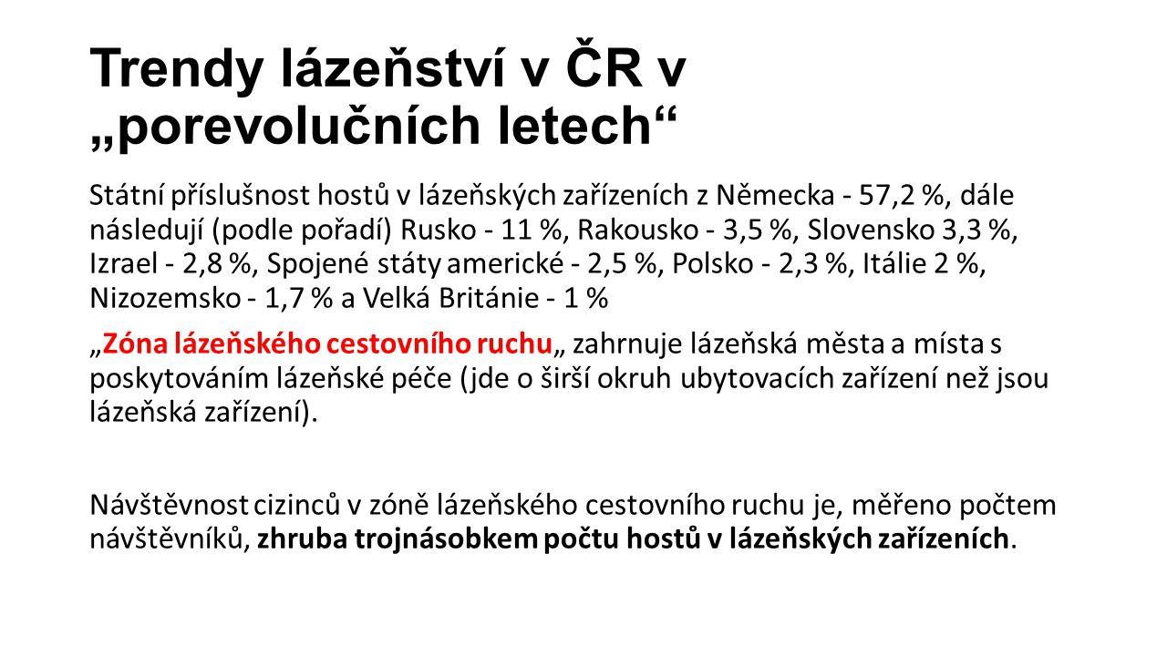 """Trendy lázeňství v ČR v """"porevolučních letech"""" Státní příslušnost hostů v lázeňských zařízeních z Německa - 57,2 %, dále následují (podle pořadí) Rusk"""
