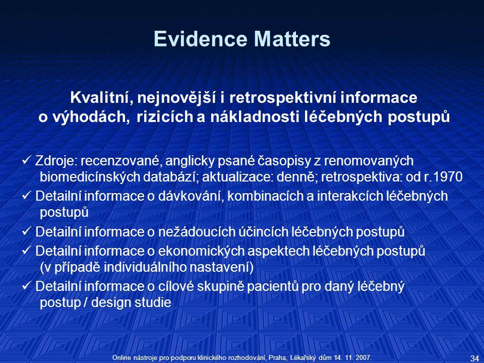 Online nástroje pro podporu klinického rozhodování, Praha, Lékařský dům 14.