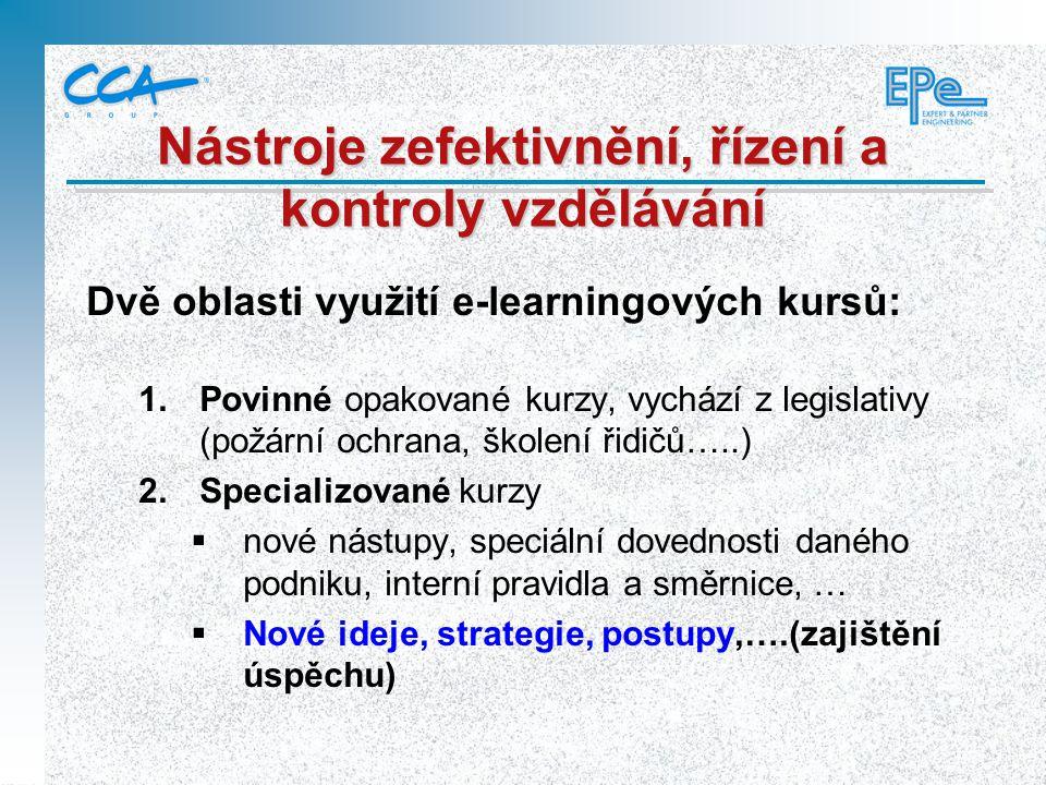 Dvě oblasti využití e-learningových kursů:  Povinné opakované kurzy, vychází z legislativy (požární ochrana, školení řidičů…..)  Specializované ku