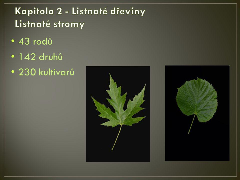 43 rodů 142 druhů 230 kultivarů
