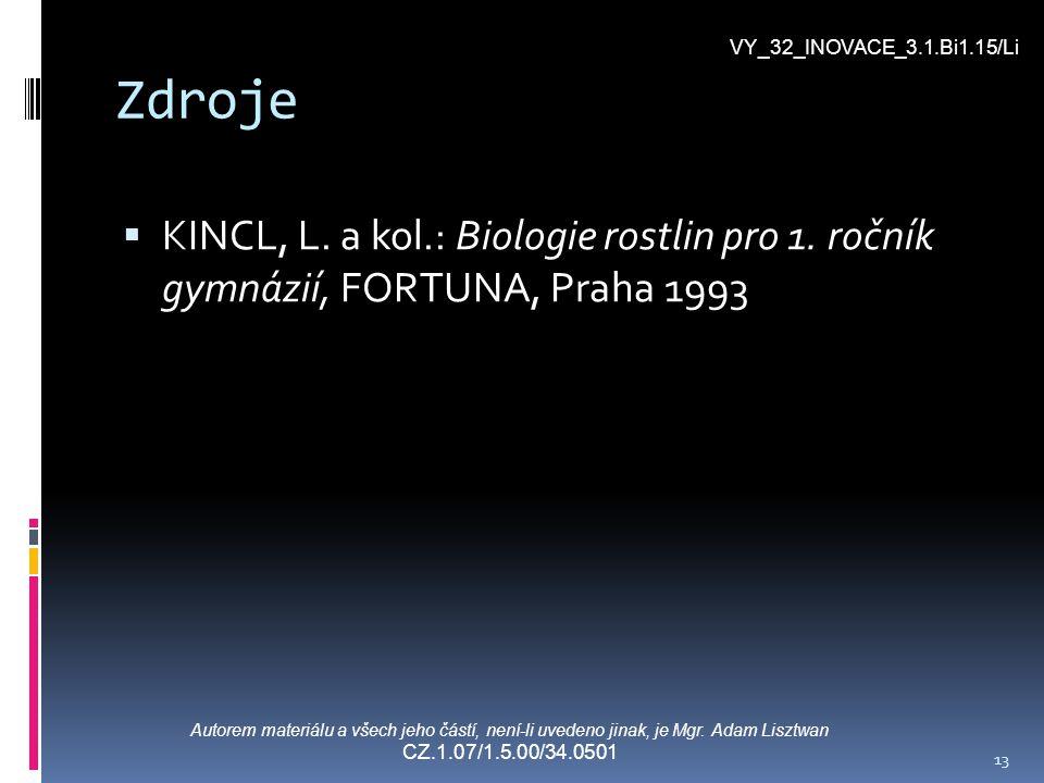 13 Zdroje  KINCL, L. a kol.: Biologie rostlin pro 1. ročník gymnázií, FORTUNA, Praha 1993 VY_32_INOVACE_3.1.Bi1.15/Li Autorem materiálu a všech jeho