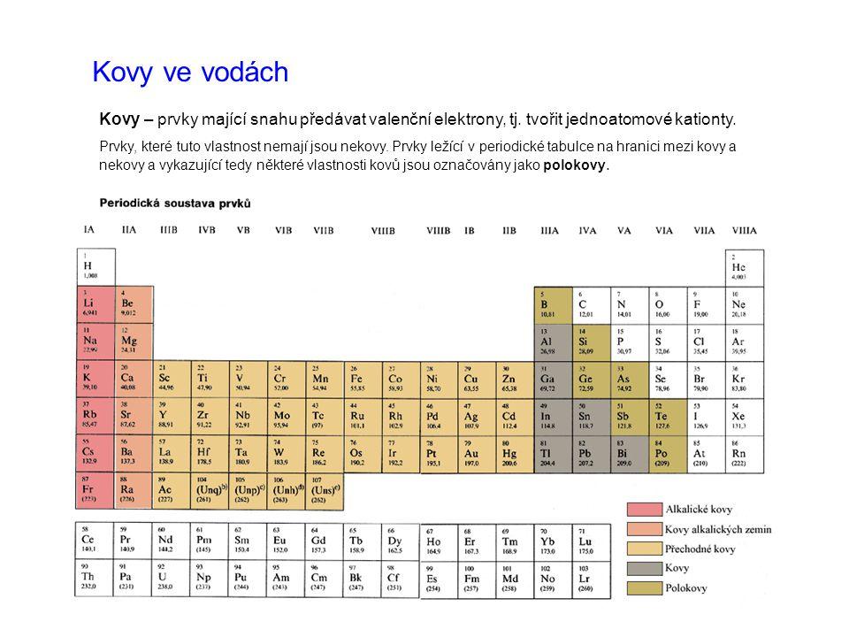 Kovy ve vodách Kovy – prvky mající snahu předávat valenční elektrony, tj. tvořit jednoatomové kationty. Prvky, které tuto vlastnost nemají jsou nekovy