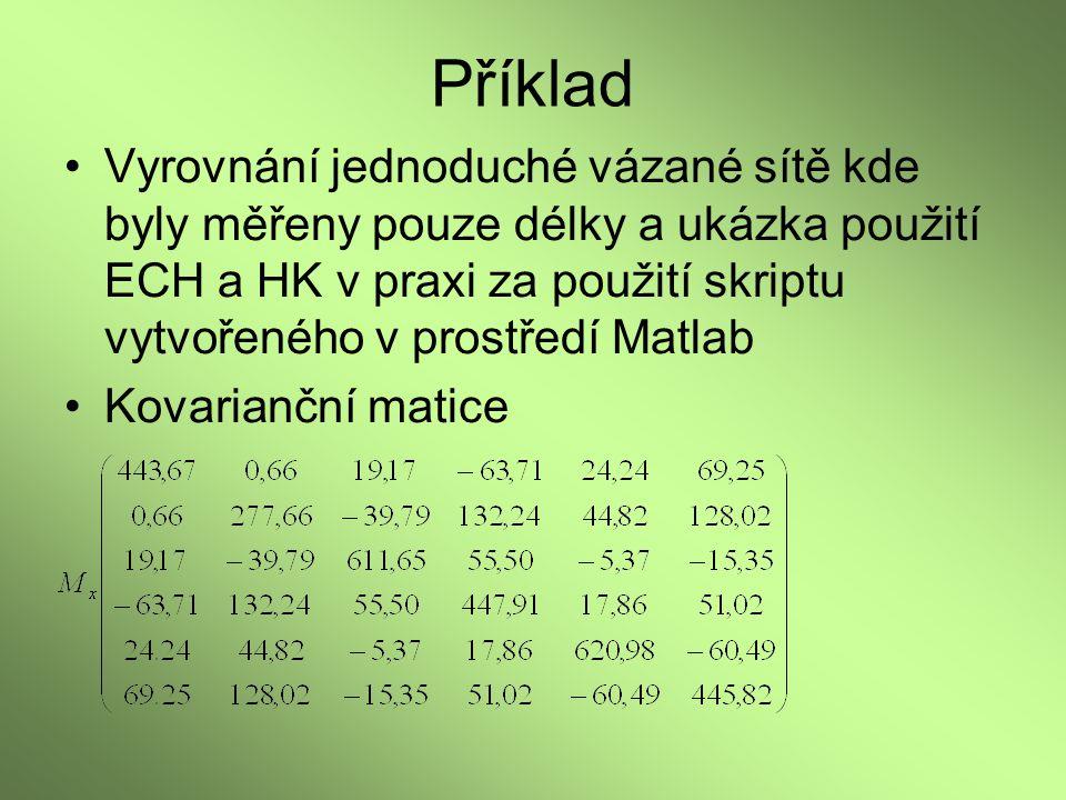 Příklad Vyrovnání jednoduché vázané sítě kde byly měřeny pouze délky a ukázka použití ECH a HK v praxi za použití skriptu vytvořeného v prostředí Matl