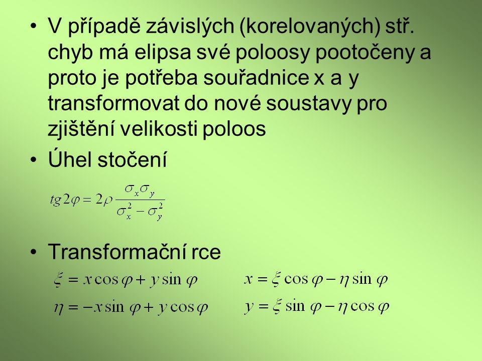 V případě závislých (korelovaných) stř. chyb má elipsa své poloosy pootočeny a proto je potřeba souřadnice x a y transformovat do nové soustavy pro zj