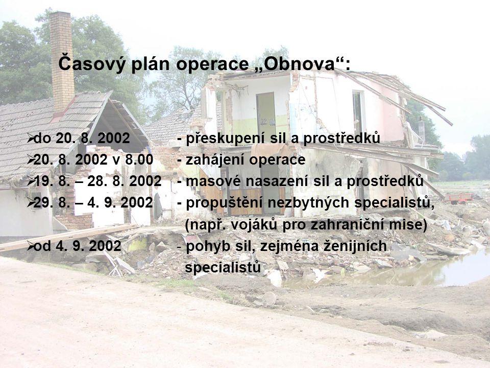 """Časový plán operace """"Obnova :  do 20.8. 2002  20."""