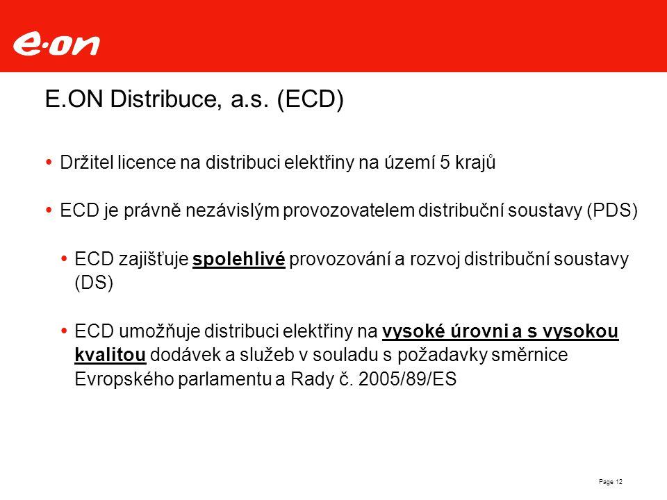 Page 12 E.ON Distribuce, a.s. (ECD)  Držitel licence na distribuci elektřiny na území 5 krajů  ECD je právně nezávislým provozovatelem distribuční s