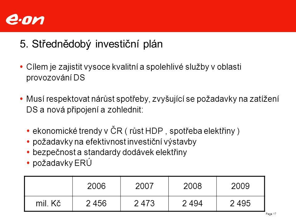 Page 17 5. Střednědobý investiční plán  Cílem je zajistit vysoce kvalitní a spolehlivé služby v oblasti provozování DS  Musí respektovat nárůst spot
