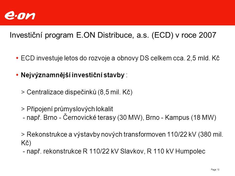 Page 18 Investiční program E.ON Distribuce, a.s. (ECD) v roce 2007  ECD investuje letos do rozvoje a obnovy DS celkem cca. 2,5 mld. Kč  Nejvýznamněj