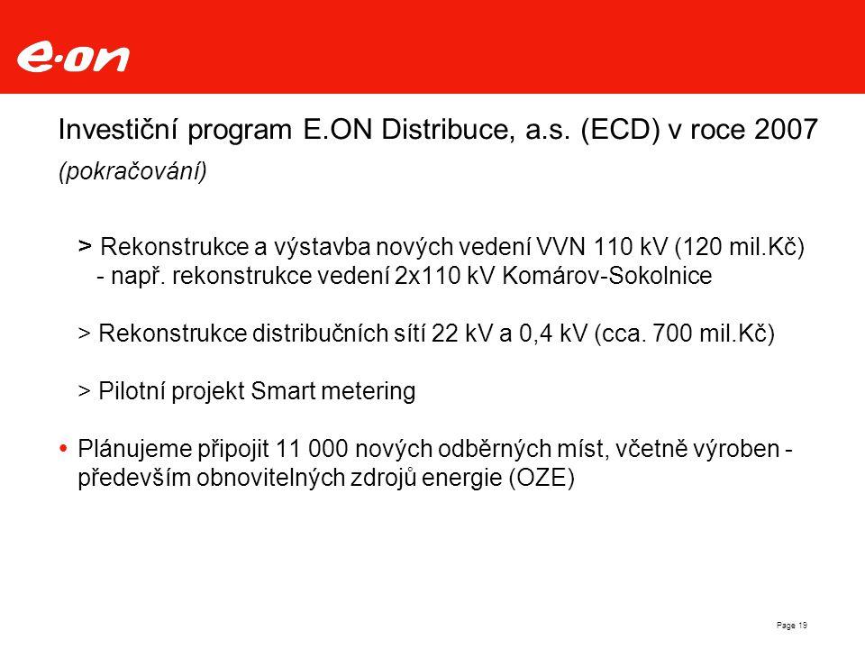 Page 19 Investiční program E.ON Distribuce, a.s. (ECD) v roce 2007 (pokračování) > Rekonstrukce a výstavba nových vedení VVN 110 kV (120 mil.Kč) - nap