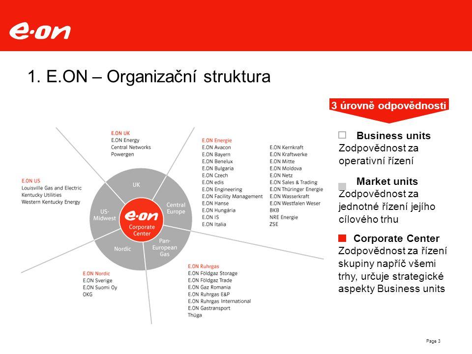 Page 3 1. E.ON – Organizační struktura Corporate Center Zodpovědnost za řízení skupiny napříč všemi trhy, určuje strategické aspekty Business units Bu