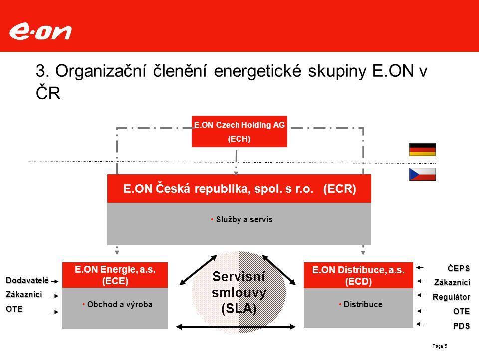 Page 5 3. Organizační členění energetické skupiny E.ON v ČR E.ON Energie, a.s. (ECE) Obchod a výroba E.ON Distribuce, a.s. (ECD) Distribuce E.ON Czech