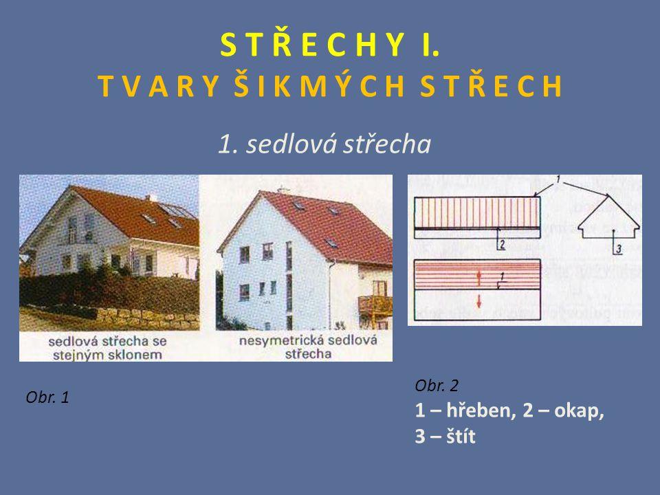 S T Ř E C H Y I. T V A R Y Š I K M Ý C H S T Ř E C H 1. sedlová střecha Obr. 1 Obr. 2 1 – hřeben, 2 – okap, 3 – štít