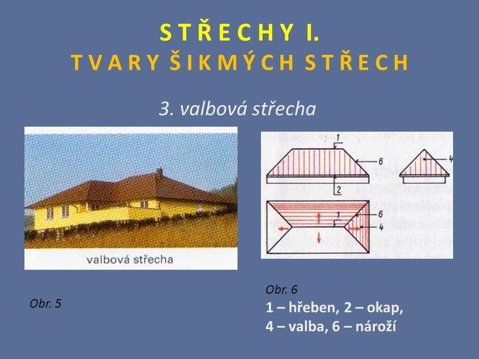 S T Ř E C H Y I. T V A R Y Š I K M Ý C H S T Ř E C H 3. valbová střecha Obr. 5 Obr. 6 1 – hřeben, 2 – okap, 4 – valba, 6 – nároží