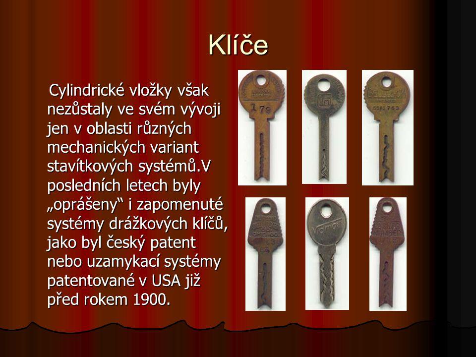 """Klíče Cylindrické vložky však nezůstaly ve svém vývoji jen v oblasti různých mechanických variant stavítkových systémů.V posledních letech byly """"opráš"""