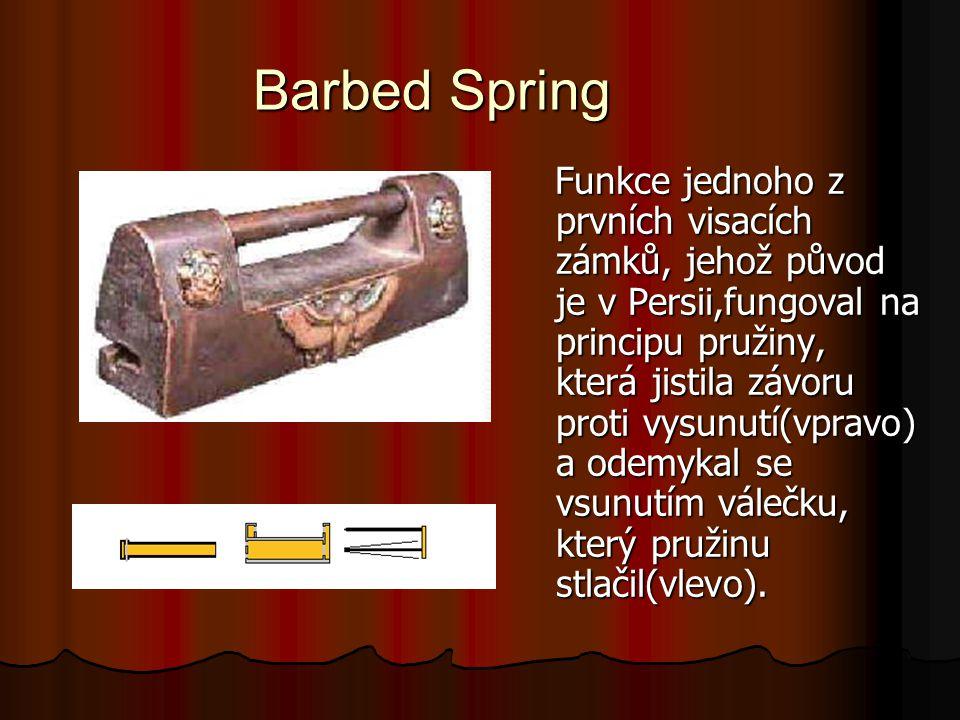 Barbed Spring Funkce jednoho z prvních visacích zámků, jehož původ je v Persii,fungoval na principu pružiny, která jistila závoru proti vysunutí(vprav