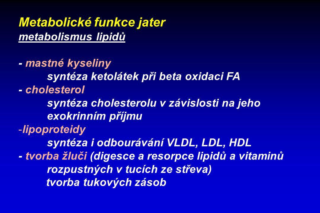 Metabolické funkce jater metabolismus lipidů - mastné kyseliny syntéza ketolátek při beta oxidaci FA - cholesterol syntéza cholesterolu v závislosti n