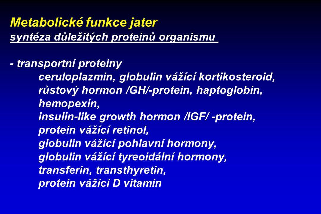 Metabolické funkce jater syntéza důležitých proteinů organismu - transportní proteiny ceruloplazmin, globulin vážící kortikosteroid, růstový hormon /G