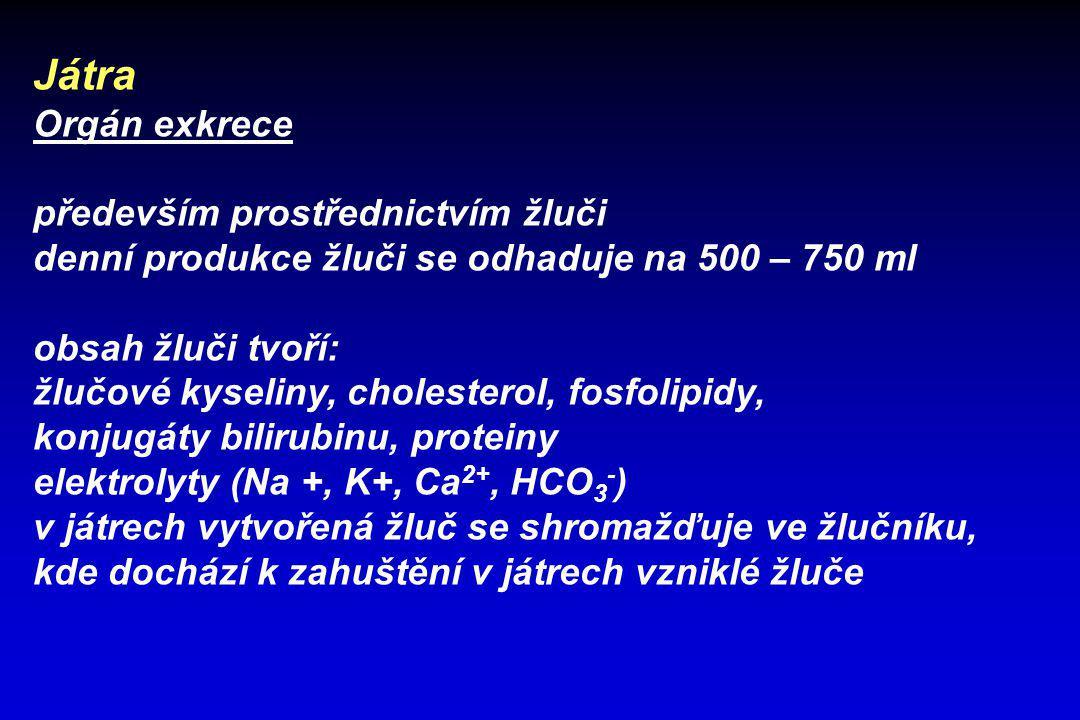 Játra Orgán exkrece především prostřednictvím žluči denní produkce žluči se odhaduje na 500 – 750 ml obsah žluči tvoří: žlučové kyseliny, cholesterol,
