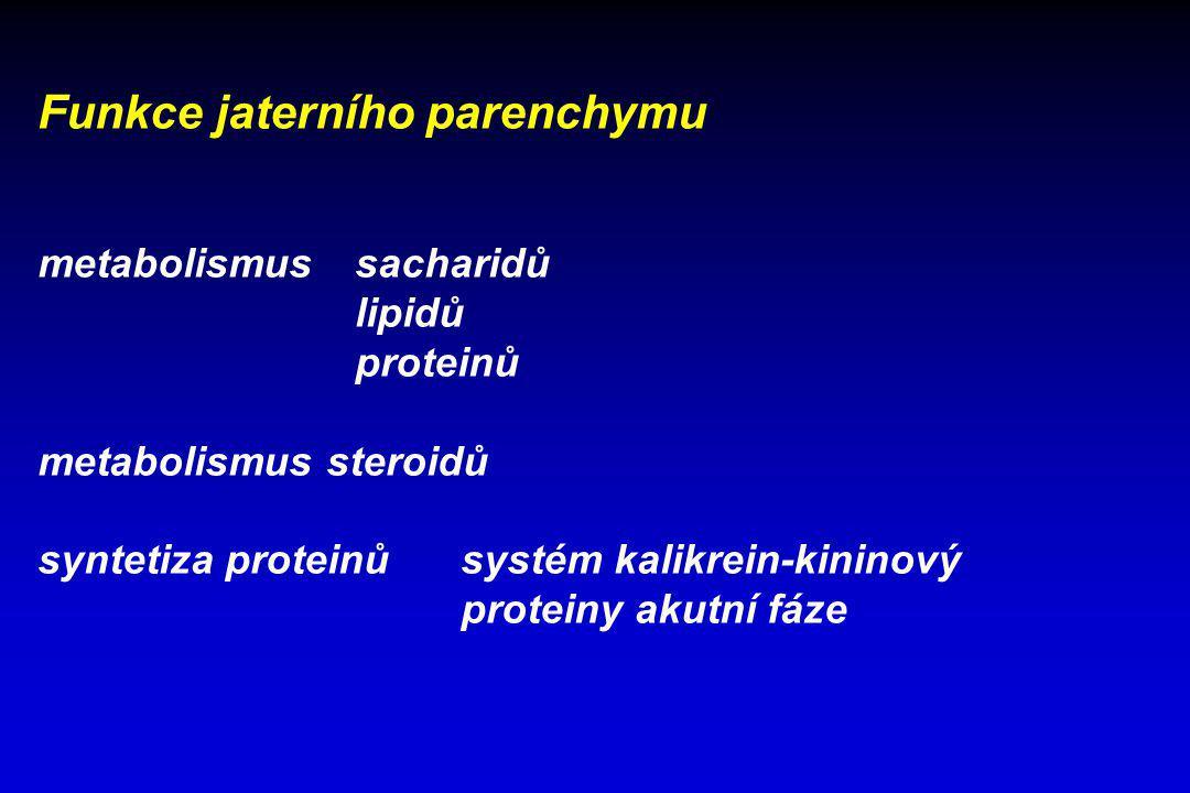 Funkce jaterního parenchymu metabolismus sacharidů lipidů proteinů metabolismus steroidů syntetiza proteinů systém kalikrein-kininový proteiny akutní
