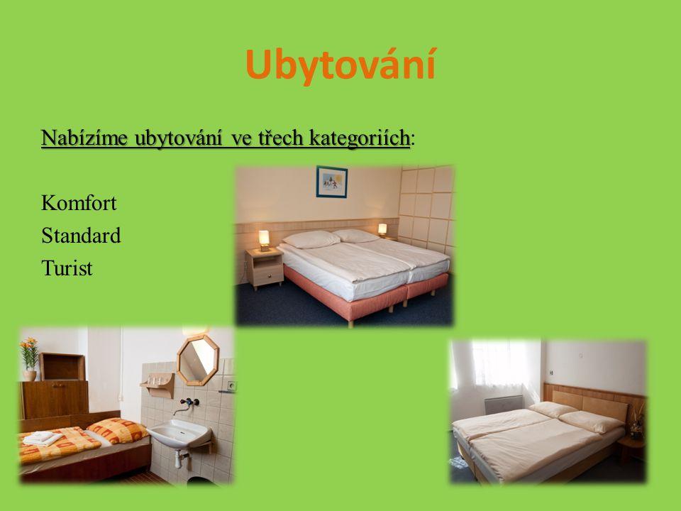 Ubytování Nabízíme ubytování ve třech kategoriích Nabízíme ubytování ve třech kategoriích: Komfort Standard Turist