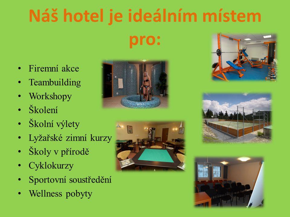 Kapacitní možnosti hotelu Pokoje typu Komfort:10 (23 lůžek) Pokoje typu Standard:26 (79 lůžek) Pokoje typu Turist:15 (40 lůžek) POKOJE CELKEM51 LŮŽKA CELKEM142 Kapacita restaurace, kavárny: 156 míst Kapacita školící místnosti:2x 40 míst Kapacita klubovny:80 míst Kapacita tělocvičny:80 míst