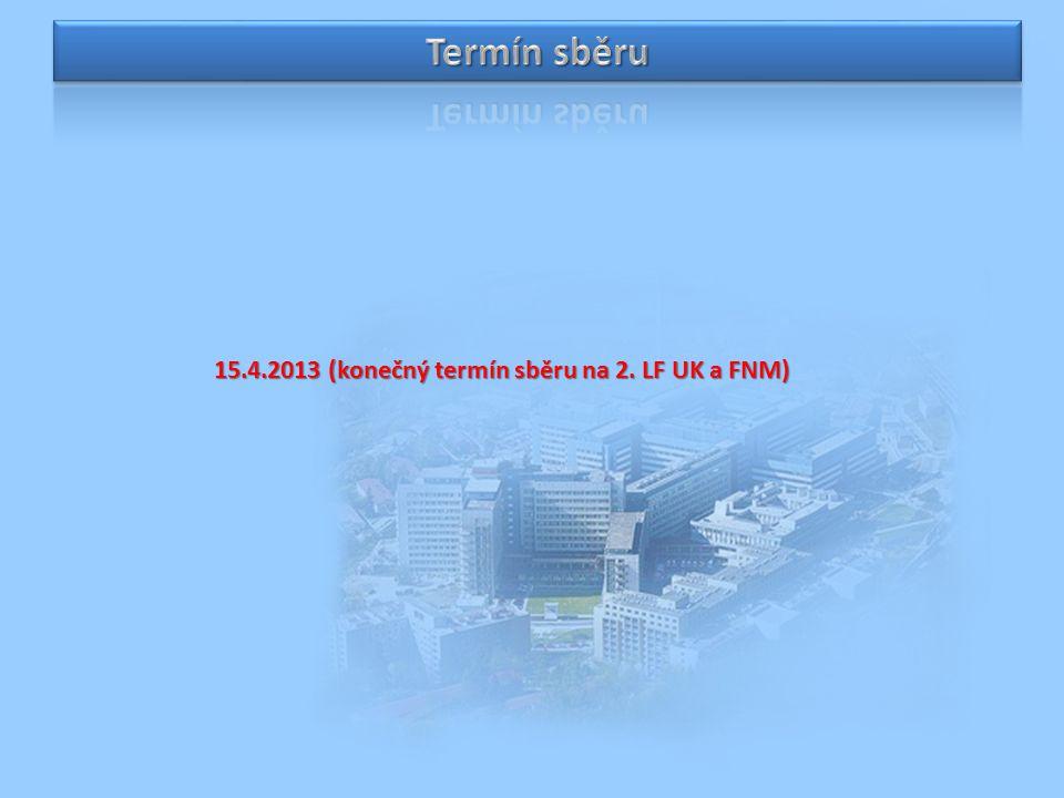 15.4.2013 (konečný termín sběru na 2. LF UK a FNM)