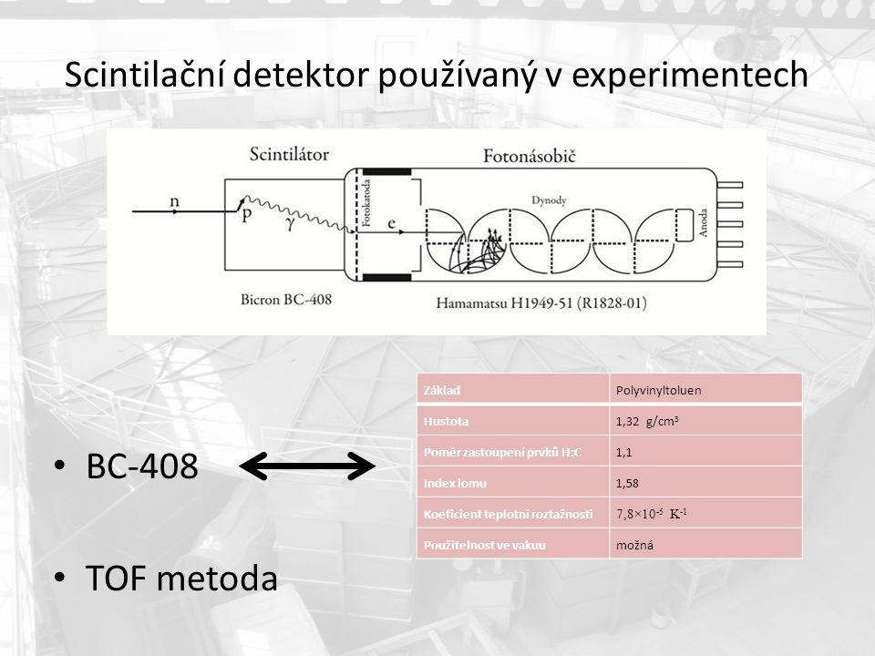 Scintilační detektor používaný v experimentech BC-408 TOF metoda ZákladPolyvinyltoluen Hustota1,32 g/cm 3 Poměr zastoupení prvků H:C1,1 Index lomu1,58 Koeficient teplotní roztažnosti 7,8×10 -5 K -1 Použitelnost ve vakuumožná