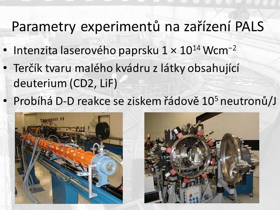 Parametry experimentů na zařízení PALS Intenzita laserového paprsku 1 × 10 14 Wcm −2 Terčík tvaru malého kvádru z látky obsahující deuterium (CD2, LiF) Probíhá D-D reakce se ziskem řádově 10 5 neutronů/J