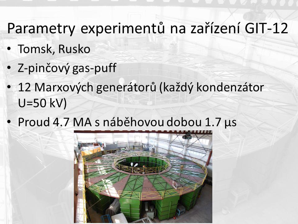 Parametry experimentů na zařízení GIT-12 Tomsk, Rusko Z-pinčový gas-puff 12 Marxových generátorů (každý kondenzátor U=50 kV) Proud 4.7 MA s náběhovou dobou 1.7 µs