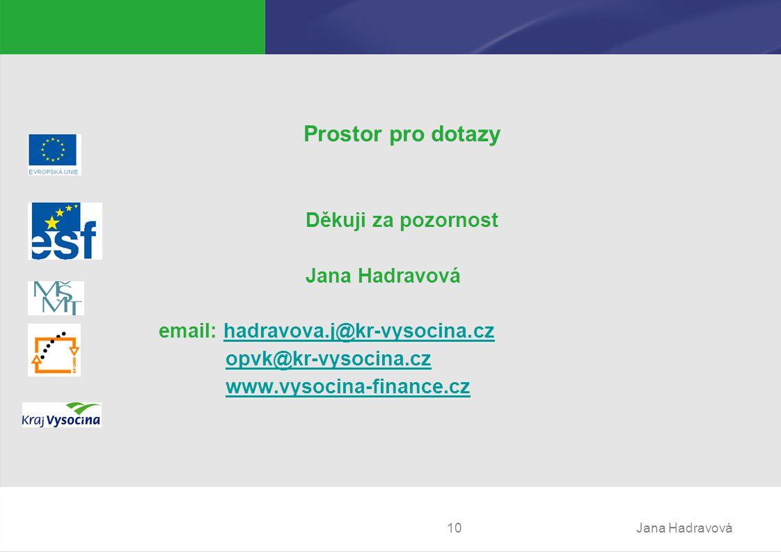 Jana Hadravová10 Prostor pro dotazy Děkuji za pozornost Jana Hadravová email: hadravova.j@kr-vysocina.czhadravova.j@kr-vysocina.cz opvk@kr-vysocina.cz www.vysocina-finance.cz