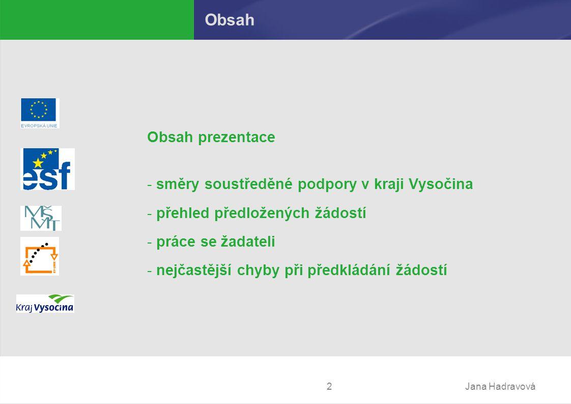Jana Hadravová2 Obsah Obsah prezentace - směry soustředěné podpory v kraji Vysočina - přehled předložených žádostí - práce se žadateli - nejčastější chyby při předkládání žádostí