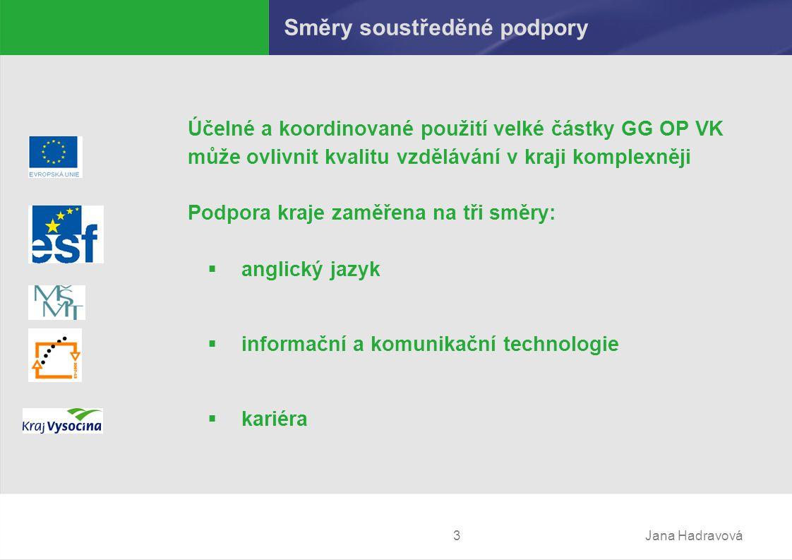 Jana Hadravová3 Směry soustředěné podpory Účelné a koordinované použití velké částky GG OP VK může ovlivnit kvalitu vzdělávání v kraji komplexněji Podpora kraje zaměřena na tři směry:  anglický jazyk  informační a komunikační technologie  kariéra